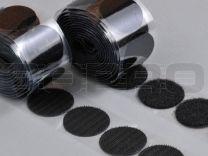 Klittenbandrondjes zelfklevend H+L Ø 35 mm, 100 sets zwart