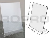 L-shaped Sign holders, vertical format, polysterene clear A4