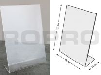 L-shaped Sign holders, vertical format, polysterene clear A6