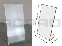 L-shaped Sign holders, vertical format, polysterene clear