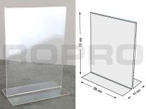 T-shaped Sign holders, vertical format, polysterene clear A6